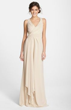Monique Lhuillier Bridesmaids Sleeveless V-Neck Chiffon Gown (Nordstrom Exclusive) | Nordstrom
