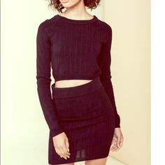 For Love and Lemons Knits 2 piece For Love and Lemons ❤️ black cropped knit black top and mini skirt. NWT runs just  a bit on the small side.... For Love and Lemons Dresses