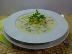 Zöldbableves 1 Cheeseburger Chowder, Risotto, Soup, Breakfast, Ethnic Recipes, Morning Coffee, Soups