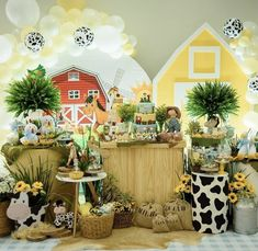 Farm Birthday, Backdrops For Parties, Buffet, Baby Boy, Baby Shower, Table Decorations, Party, Animals, Home Decor