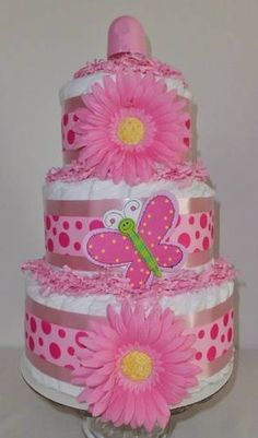 Pink Butterfly 3 Layer Diaper Cake - Baby Shower Gift/Centerpiece - Adorable!   $45.00