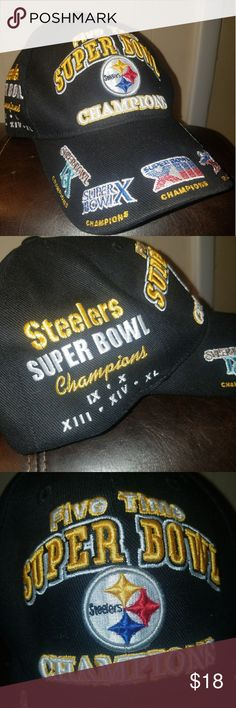 One of a kind Steelers Super bowl Velcro back hat One of a kind Steelers Super bowl champions Velcro back hat Pittsburgh Steelers  Accessories Hats