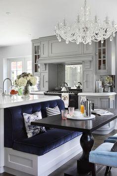 Kitchen Island Nook trend alert: a kitchen island that's also a breakfast nook