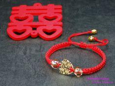Golden Double Happiness Crystal Red Bracelet by YanYanWorkshop