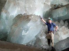 De Grot van de Kristallen in de Naica mijn in de  Chihuahuawoestijn, Mexico.