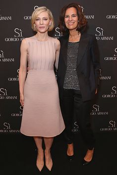 24 May Cate Blanchett posed with Roberta Armani at the launch of the latest Giorgio Armani fragrance, Si. The actress chose a simple dusty pink dress.   - HarpersBAZAAR.co.uk