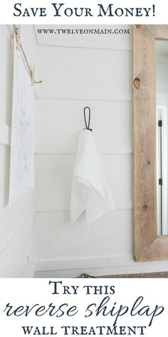 Use this DIY reverse shiplap to create a stylish farmhouse style for less than traditional shiplap! I don't like the wall, just the Hook! Primitive Bathrooms, Primitive Homes, Country Bathrooms, Primitive Country, Dream Bathrooms, Cottage Style, Farmhouse Style, Farmhouse Decor, Modern Farmhouse