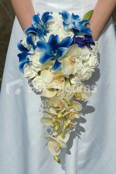 Luxury Midnight Blue & Ivory Cascading Shower Wedding Bouquet