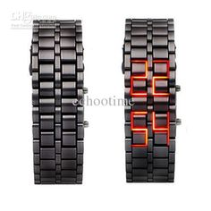 eisen-gesichtslose rote zweiheit lED armbanduhr - schwarz