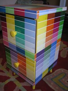 2 drawer night stand redone in paint chip samples Paint Chip Cards, Paint Sample Cards, Paint Samples, Paint Swatch Art, Paint Swatches, Chip Art, So Creative, General Crafts, Decorative Storage
