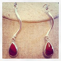 Deep Red Jasper and Sterling Silver Teardrop Earrings via Etsy
