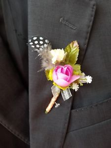 £5.99. Buy it now. More than 12 available. Dark pink silk flower with baby's breath spray and silver ribbon, Guinea hen black feather and simple yet elegant. 2018 collection by Gianna Creations.