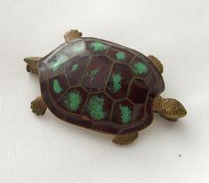 Made in France Vintage Turtle Brooch Pin by BuyVintageJewelry