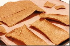 Standard homemade raw flax juice pulp crackers.      N.B: For the juice pulp, use only the pulp from the veggies (you don't want the fruit, lime or ginger pulp from your juices here - juice these first and throw them out before capturing the rest). You can also freeze juice pulp for up to 3 or 4 weeks!    #dehydrator #vegan #snacks