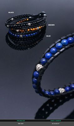 Accessories :: Bracelets :: Gemstone Beads Leather Cuff-Bracelet 263 - Mens Fashion Clothing For An Attractive Guy Look