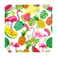 Illustration of Vector seamless tropical pattern with pink flamingo, palm leaves, watermelon and pineapples. Trendy design for summer fashion textile prints and backgrounds. vector art, clipart and stock vectors. Flamingo Rosa, Pink Flamingos, Hawaiian Pattern, Tropical Pattern, Tropical Art, Tropical Leaves, Poster Flamingo, Flamingo Vector, Surf Vintage