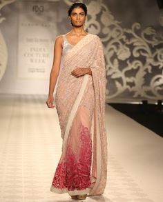 Embroidered Blush Peach Sari