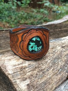 Handmade Turquoise and Leather Cuff on Etsy, $65.00 literally i want this soooo badddd!