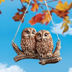 Swinging Brown Baby Owls Perched on a Tree Branch Figurine   Collections Etc. Porch Ceiling, Hand Painted Textures, Rope Swing, Wildlife Decor, Collections Etc, Brown Babies, Owl Bird, Hanging Rope, Baby Owls