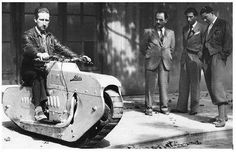 """Named the ""tractor-cycle"" by the inventor, J. Lehaitre, the vehicle is said to be superior to an ordinary motorcycle in its ability to climb steep and rough grades, although its speed on level ground is limited to about 25 m.p.h. Fitted with a machine gun, the cycle could be used by…"