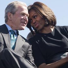 """Here's #FLOTUS Michelle Obama with former President George W Bush at #Selma50…"