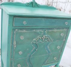 "Turquoise Highboy Dresser | Shizzle Design...CeCe Caldwell Pittsburgh Gray base then ""random"" application of Santa Fe Turquoise (predominant) + Blue Montana Sky + Alaskan Tundra"