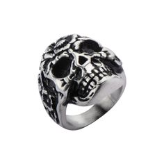 Women's Stainless Black Oxidized Flower Skull Head #Ring. #Inox #jewelry #stainlesssteel #backoxidized #mensjewelry #edgy