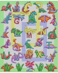 Dinosaur ABC Cross Stitch Pattern