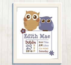 Name Art Print Birth Stats Birth Announcement by VeryFairyGood Etsy Handmade, Handmade Gifts, Chic Nursery, Name Art, Cute Owl, Etsy Crafts, Etsy Jewelry, Owls, Announcement