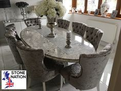 Unique oval dining table with double edge detail in Cambria Sumerhill Quartz on twin matching pedestals, with dining chairs manufactured by us in our Cara design. Marble Furniture, Granite Worktops, Contemporary Style, Modern, Oval Table, Dining Chairs, New Homes, Quartz, Twin