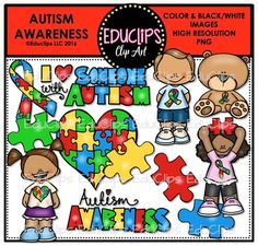 This is a set dedicated to autism awareness.21 images (12 in color and the 9 in…