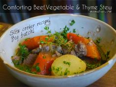 Comforting Beef, Veg and Thyme Stew in the slow cooker, BIG BATCH!