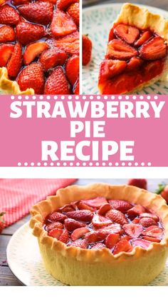 Strawberry Pie Recipe This Strawberry Pie Recipe is the perfect dessert for summer! This easy pie is Easy Pie Recipes, Jello Recipes, Tart Recipes, Healthy Dessert Recipes, Sweet Recipes, Strawberry Jello Pie, Strawberry Recipes, Strawberry Summer, Strawberry Shortcake