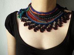 beaded crochet - collar necklace with black, orange, red, gray, blue and green seed beads and crocheted lace by irregularexpressions