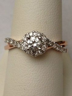 Very pretty. I love rose gold. 14k White and Rose Gold Two Tone Halo Vintage Style Bypass Shank Engagement Ring | eBay