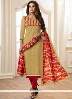 8b8e025caf735 Pamper the women in you with this attractive beige cotton churidar salwar  suit. This engaging