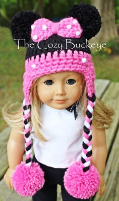 Minnie Mouse Hat Disney Character Hat for an American Girl Doll 18 inch doll Bitty Baby doll clothes Minnie Mouse Hat for an American Girl Doll * Crochet Design by April Burwick of TheCozyBuckeye American Doll Clothes, Ag Doll Clothes, Crochet Doll Clothes, Crochet Doll Pattern, Crochet Dolls, Crochet Patterns, Crochet Hats, Ropa American Girl, American Girl Crochet