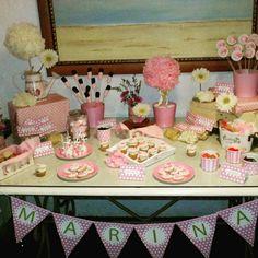 Mesa dulce comunión Rosa y beige