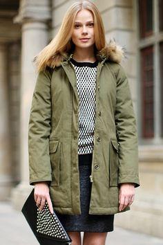 Women's Romwe Army-green Down Coat! Too cute!