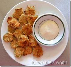 Baked Fried Pickle with Ranch dip. Oh how I love my deep fried pickles...alternative healthier way to cook them.
