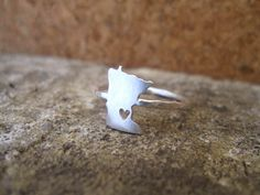 Any State Love Ring in Sterling Silver. $55.00, via Etsy.