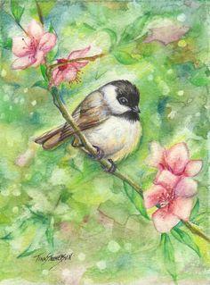 Peach Blossom Chickadee Original Watercolor