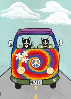 Hippie Cats Road Trip Original Cat Folk Art Painting by KilkennyCat Art, $66.50 USD Copyright © Ryan Conners