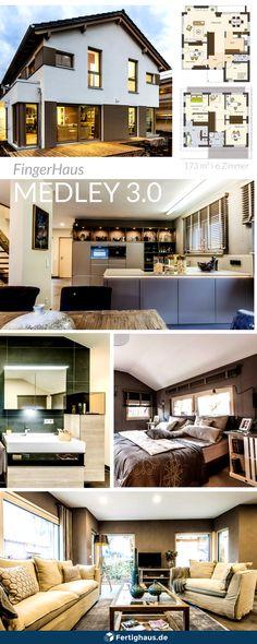 Auf 173 m² findest Du viel Platz für dich und deine Familie! 6 Zimmer und 3 Bäder machen das Musterhaus Fellbach von FingerHaus zu einem geräumigen Einfamilienhaus. | Weitere Infos findest Du unter www.fertighaus.de | #satteldachhaus #satteldach #fertighausde #einrichtung #wohnzimmer #schlafzimmer #bad #küche #klassischeeinrichtung #interior