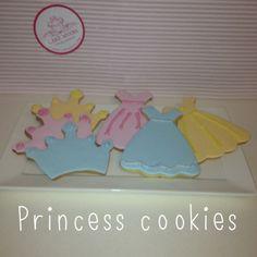 Princess dress and princess crown cookies Crown Cookies, Princess Cookies, Cakes, Frame, Dress, Picture Frame, Dresses, Cake Makers, Kuchen