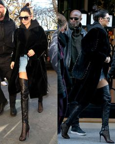 Black hoodie+denim shorts+black over the knee boots+black fur coat+black studded crossbody bag+sunglasses. Winter Casual Outfit 2017