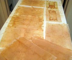 tutorial for reclaiming tea bag papers, and for tea-dying fabric