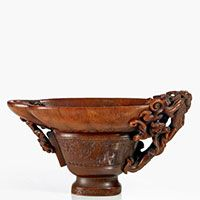 A rhinoceros horn libation cup, China, Qing dynasty, 17th century High: 10 cm. (4 in.) ; Length: 17,5 cm. (6 3/4 in.) Weight: 278 gr. 138 106 €, 10 December 2013