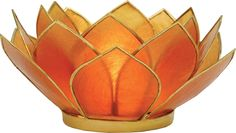 Candle Holder (2.25-Inch, Mango Orange, 3-Layer Capiz Lotus Gold-Edged) - For Home Decor and Wedding Decorations - For Use with Tea Light Candles   Luna Bazaar