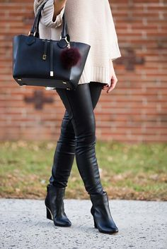 How to style faux leather leggings // LipglossandLabels.com